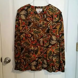 Westbound  Brown /Yellow Paisley Blouse Sz 14